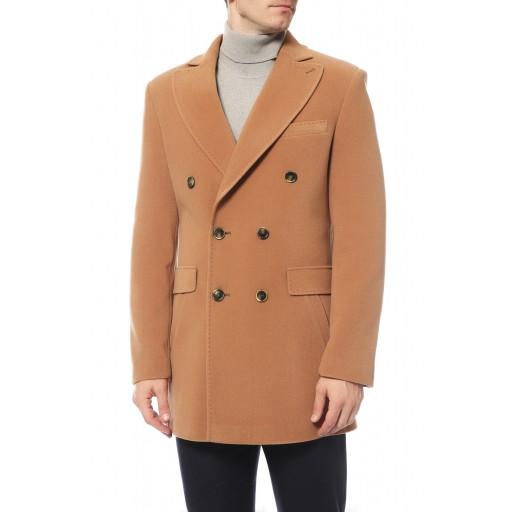 Пальто мужское двубортное бежевое- кэмел А3029