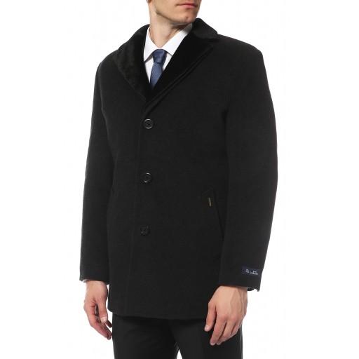 Пальто однобортное мужское с двойным воротником из нерпы М3018
