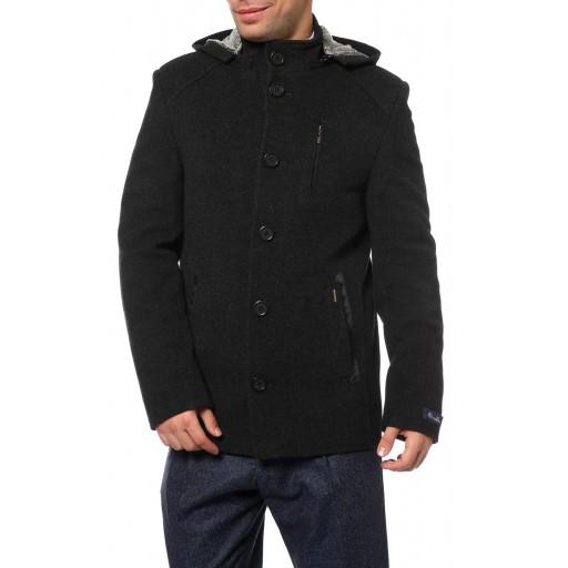 Пальто мужское , воротник стойка, с капюшоном из ткани меланж К125М