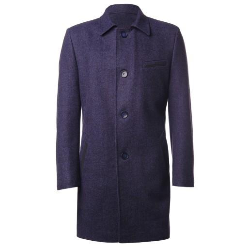 Пальто мужское однобортное А3030 синее